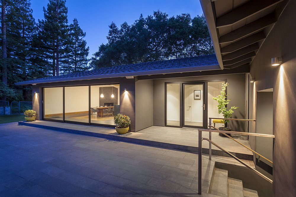 Gray exterior of the house feels modern and elegant