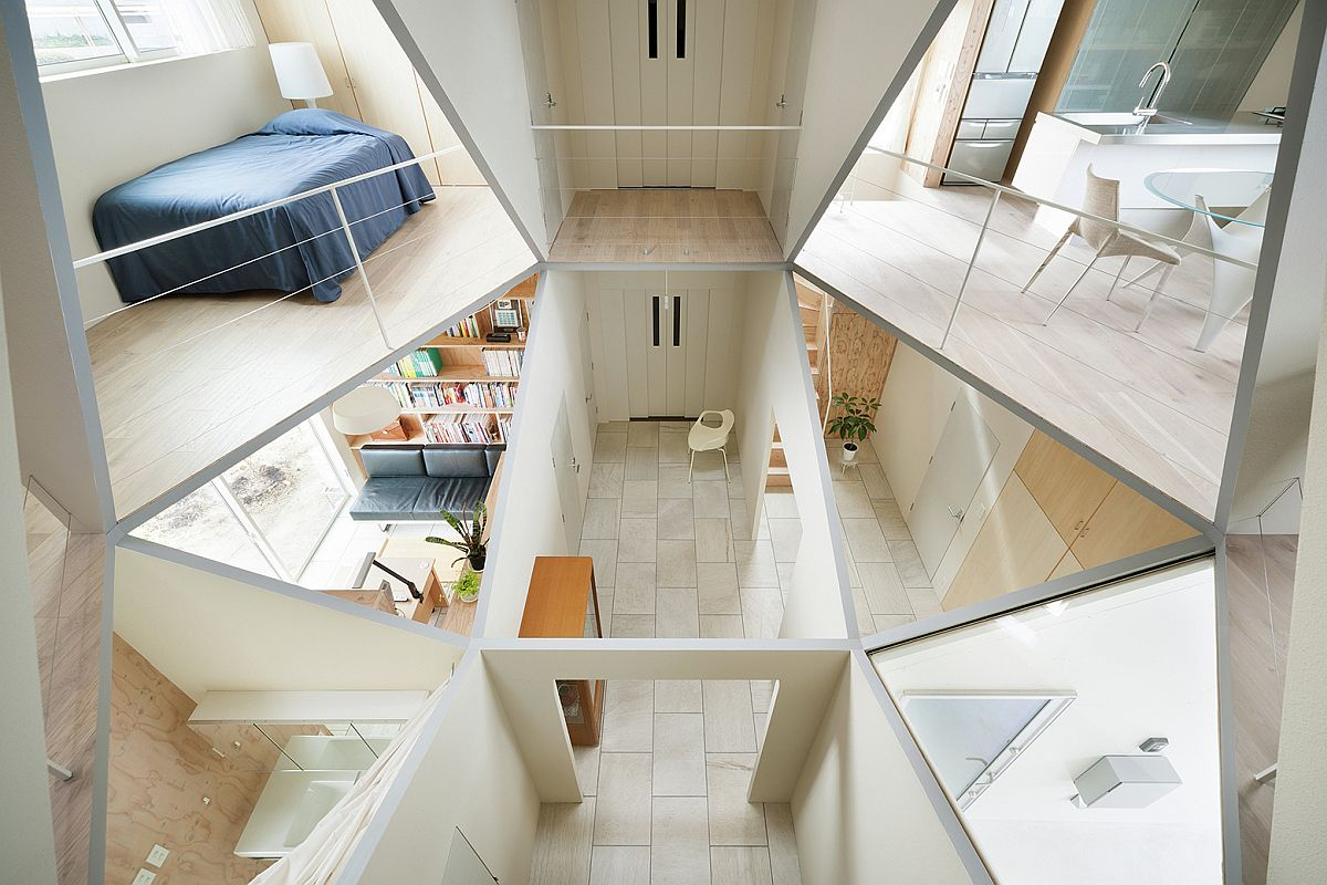 Innovative hexagonal atrium of Japanese home brings light into 12 rooms across three different levels