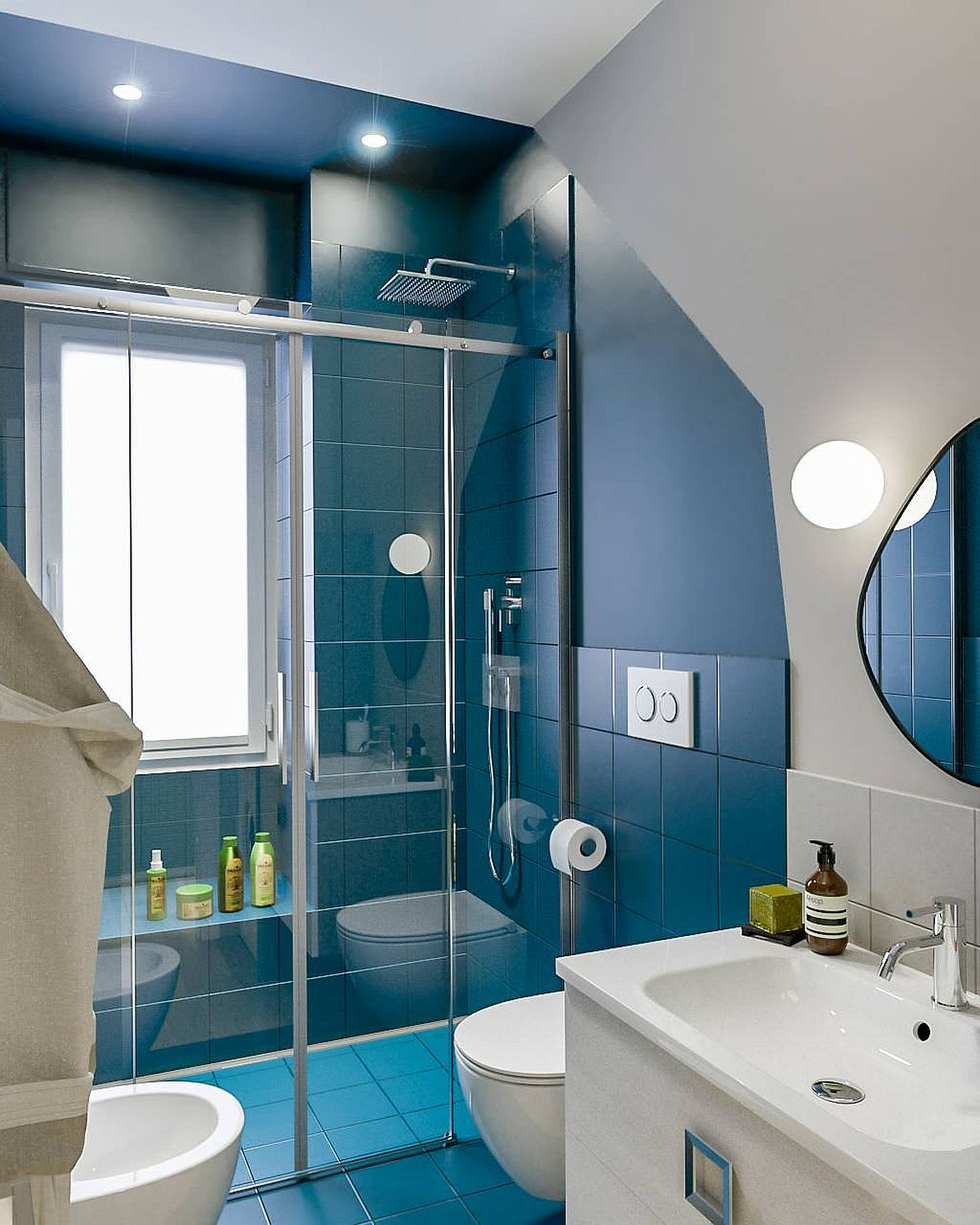 Innovative way to add classic blue to the small contemporary bathroom