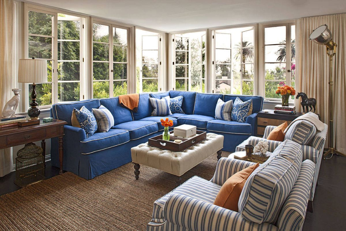 Large-blue-scetional-along-wih-striped-accent-chairs-in-blue-and-white-for-the-stylish-living-space-84727