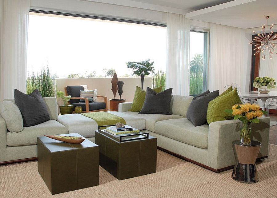 living room with different shades of green throughout