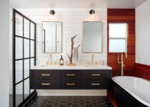 Master-bathroom-in-black-and-white-with-brass-handles-and-frames-along-with-wooden-accent-section-80749-217x155