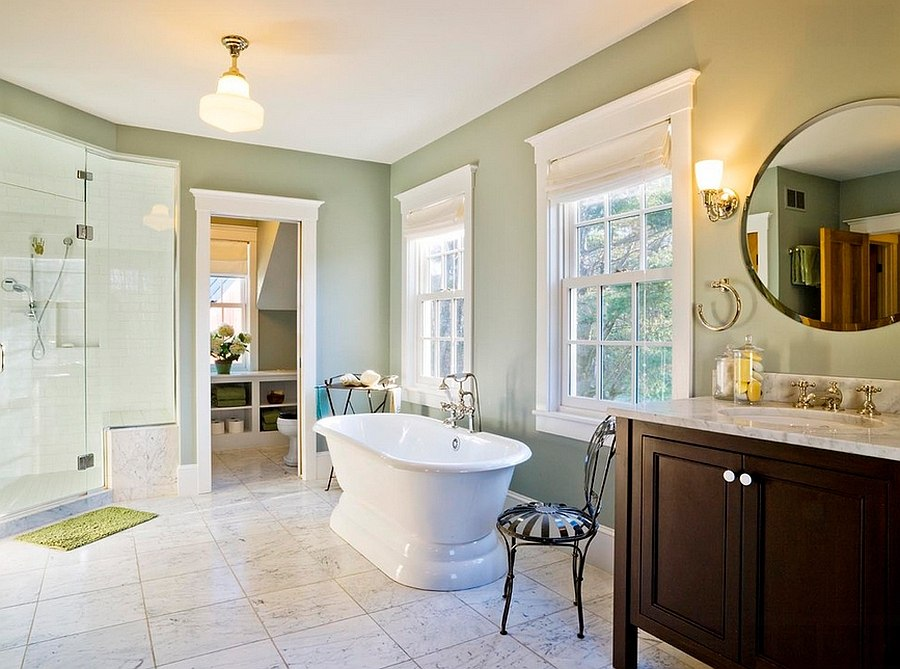 Master bathroom in green and white feels both spacious and stylish