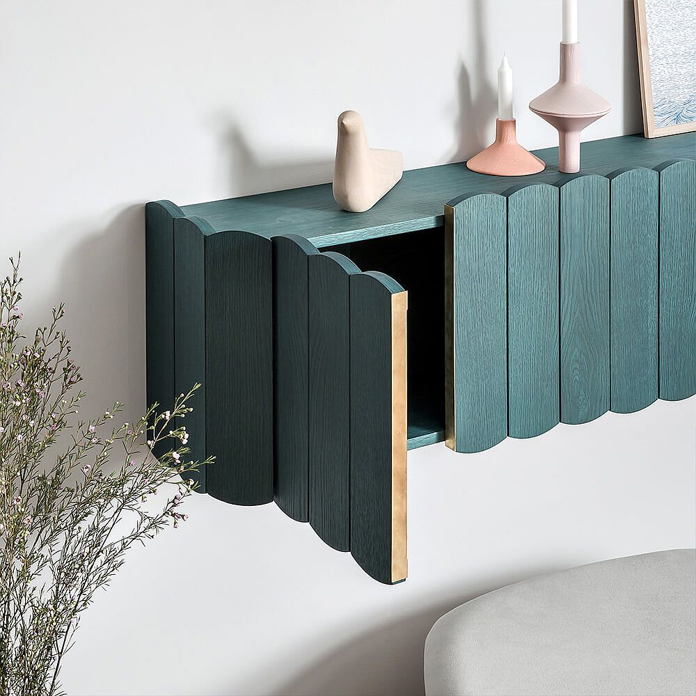 Masterfully rounded wooden edges of the shelf door ring back images of beautiful picket fences