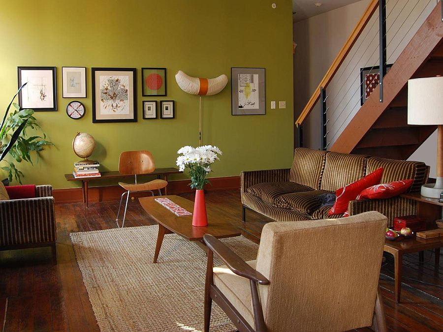 mid century modern living room with olive green accent wall