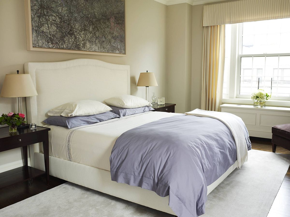 Modern-bedroom-of-New-York-home-in-cream-with-light-violet-accents-and-a-hint-of-greenery-74792