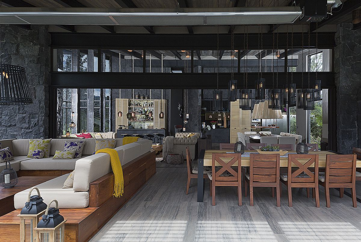 Modern rustic living area of the house complete with opulent decor