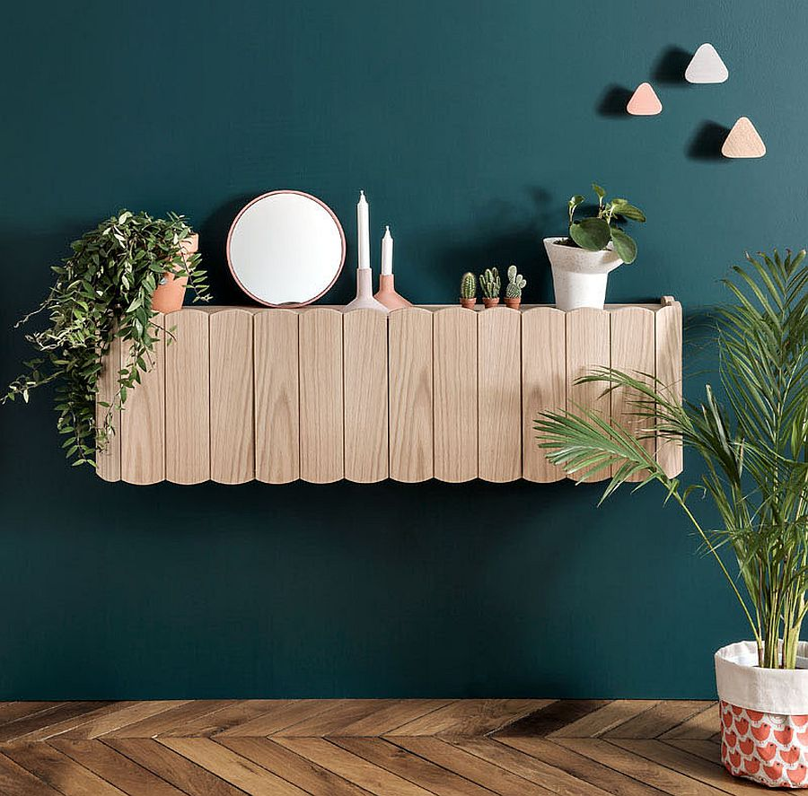 Modern wooden floating shelves inspired by fences found around poppy fields