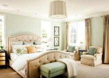 lighter hue of olive green in bedroom