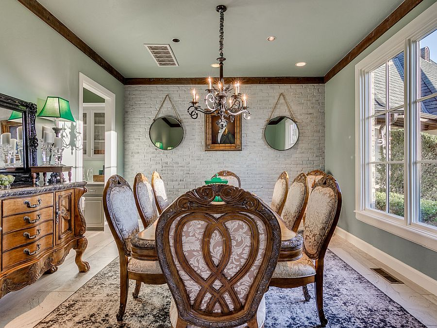 Opulent-and-exclusive-dining-room-with-classic-decor-in-wood-and-whitewashed-brick-wall-backdrop-39699