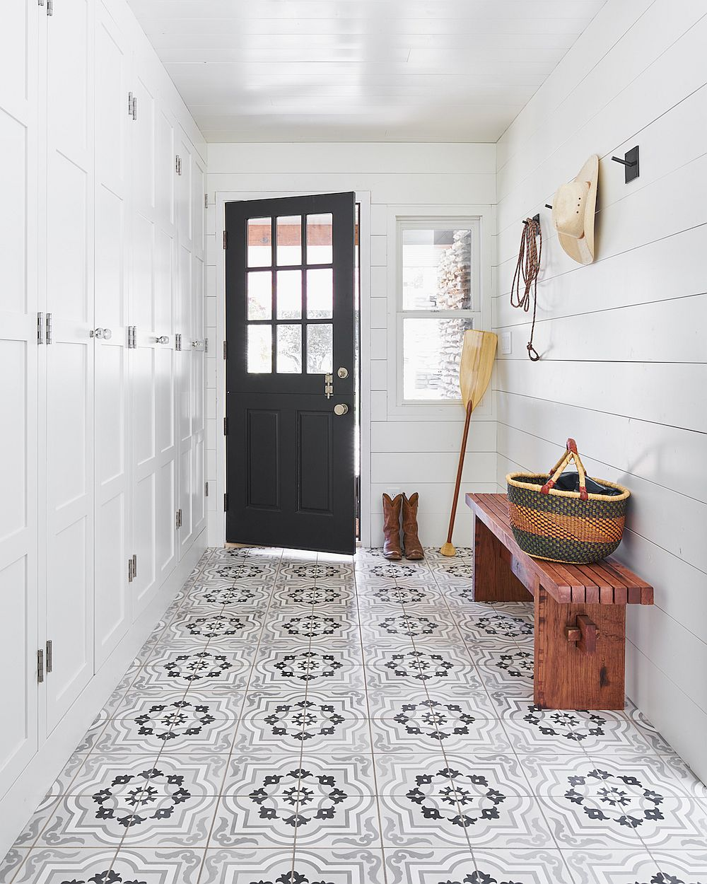 Patterned encaustic tile for the modern entry in white