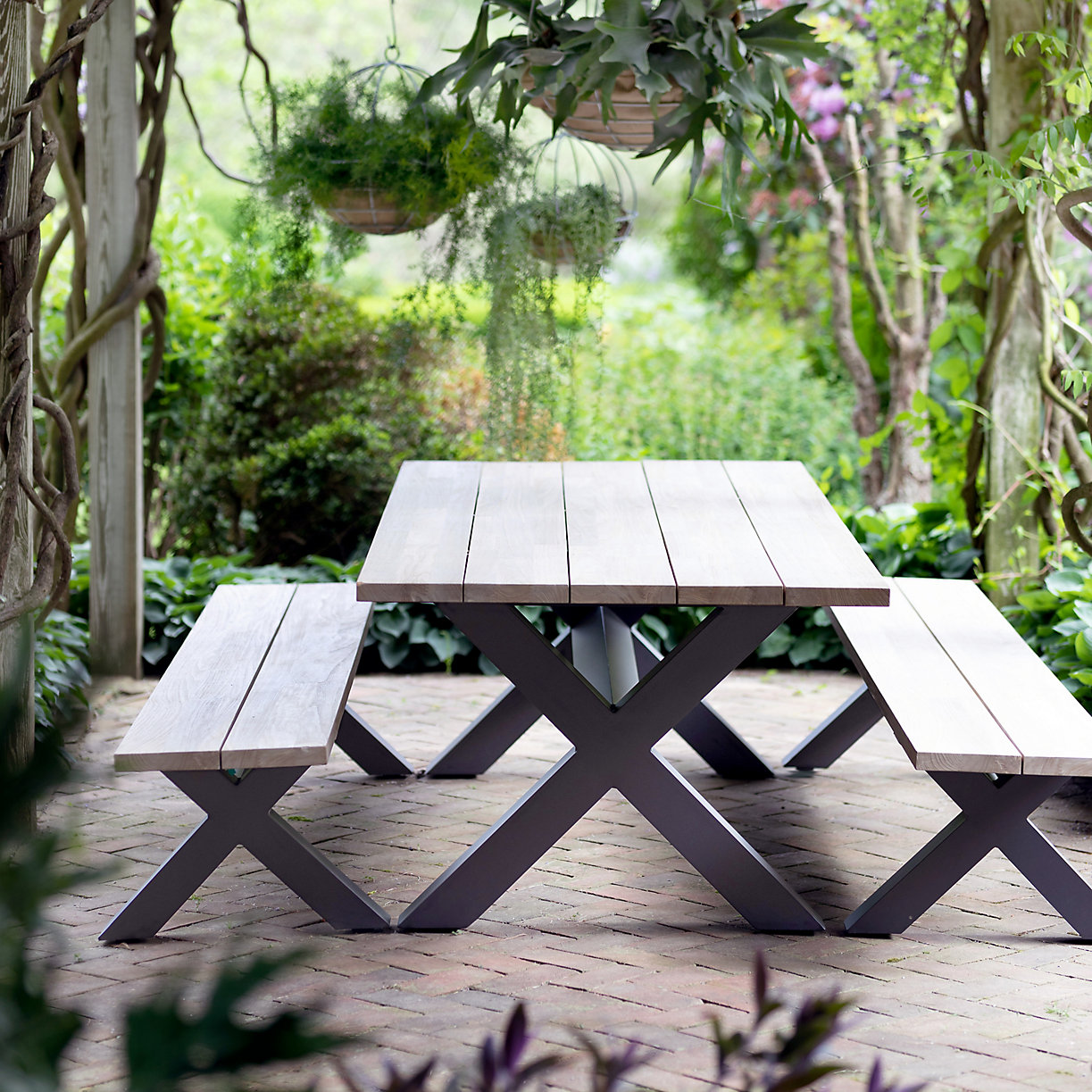Picnic table with wooden slats