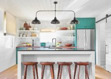 Relaxing-ranch-style-kitchen-in-white-with-a-splash-of-turquoise-that-brings-brightness-92970-217x155