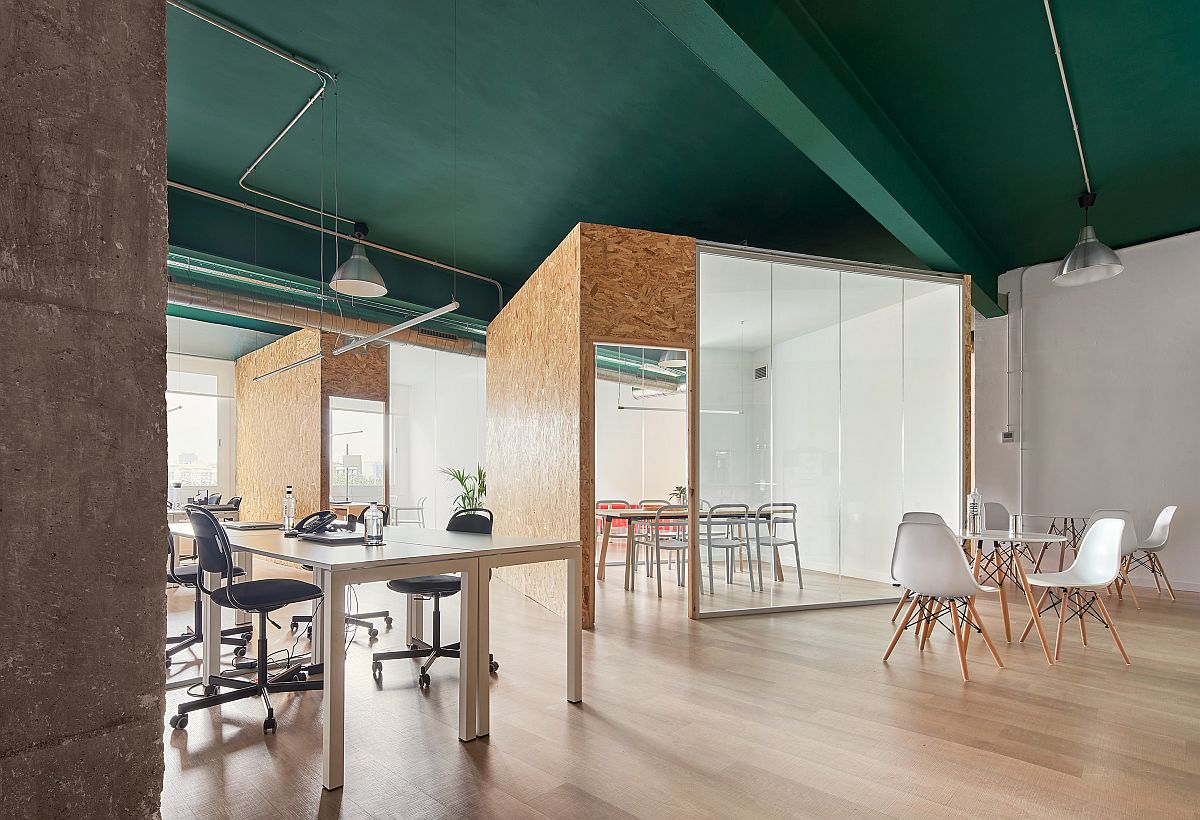 Revamped Office interior of sustainable water company inside industrial building in Barcelona
