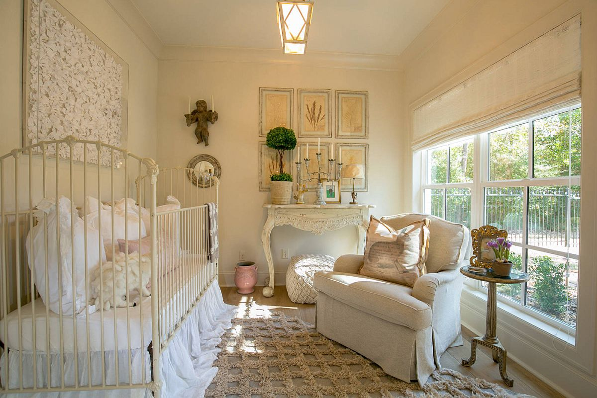 Shabby chic nursery in light cream has a timeless French country panache about it