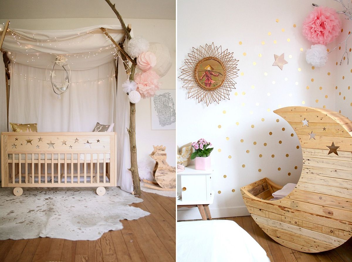 Shabby chic nursery in neutral hues inspired by the night sky