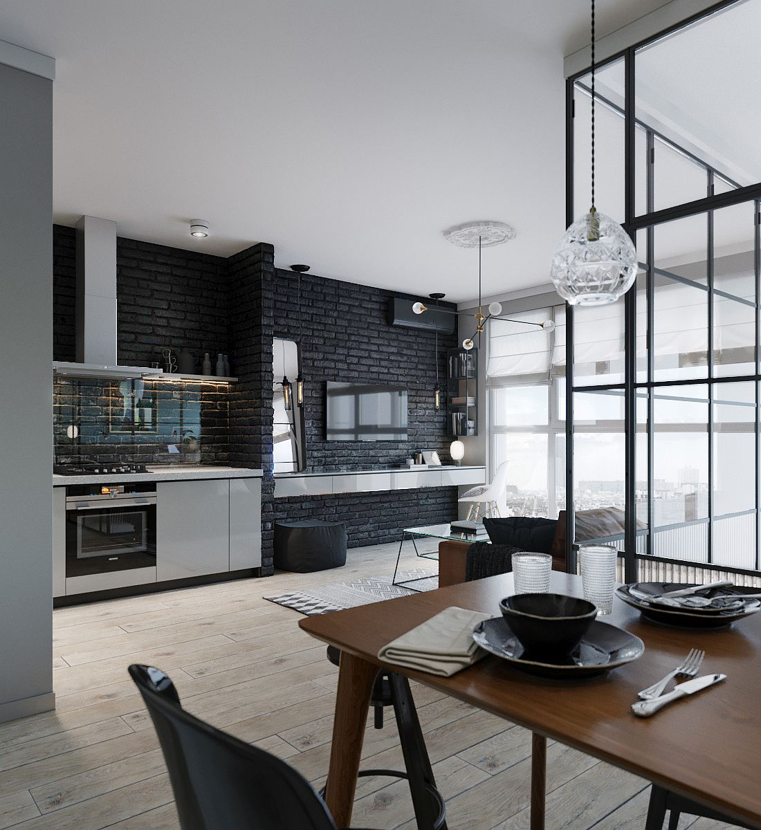 Single-wall kitchen, dining area and living room of the small Kiev Apartment