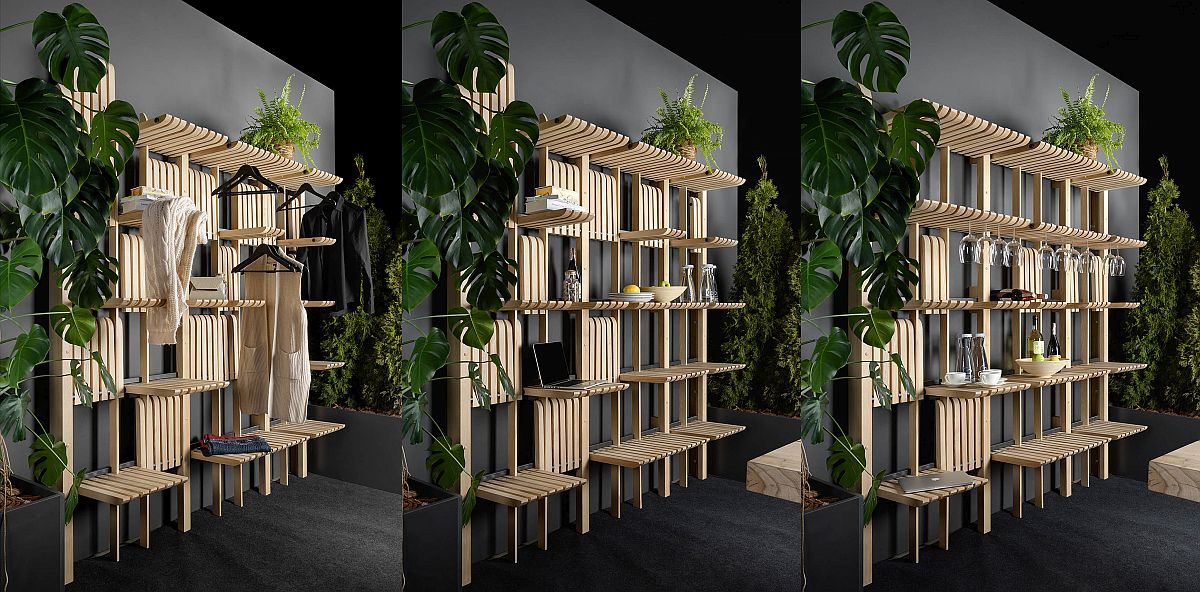 Sleek wooden shelves can be folded away when they are not in use