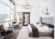 Sliding-barn-style-door-with-mirrored-finish-for-the-modern-rustic-bedroom-in-neutral-colors-72888-217x155