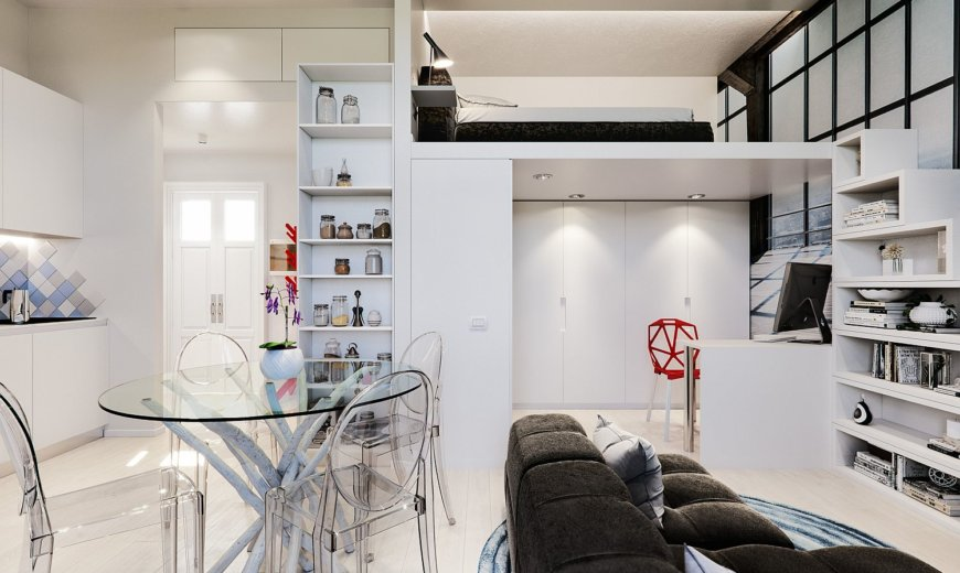 Small 29 Sqm Studio Apartment in White is a Super Stylish Space-Saver