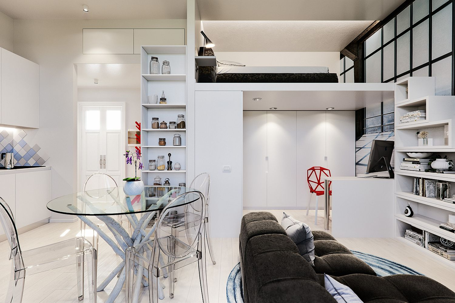 Small Studio apartment for sudents to rent in Milan has a space-savvy modern design