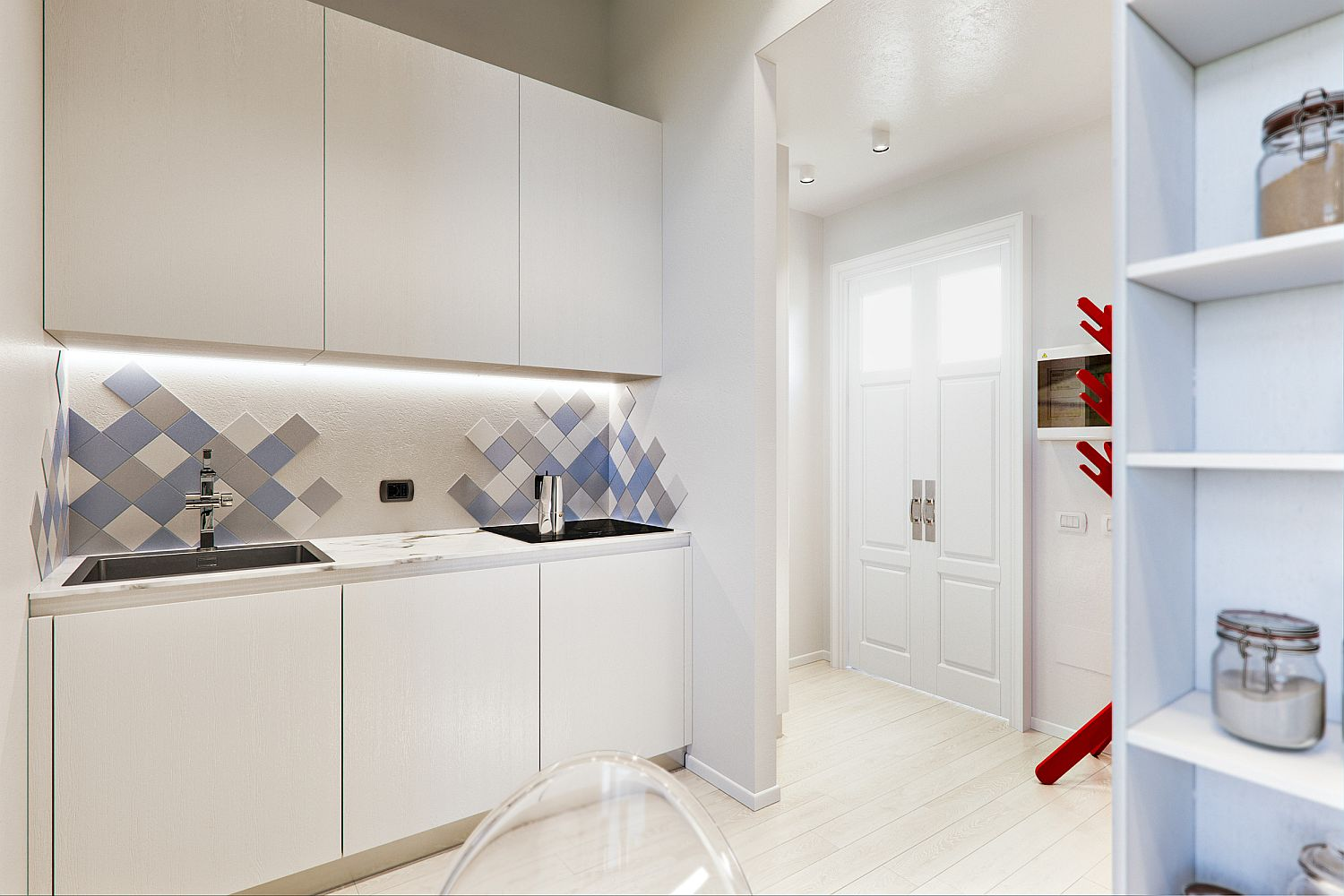 Small, monochromatic kitchen in white with an interesting backsplash that has blue and gray