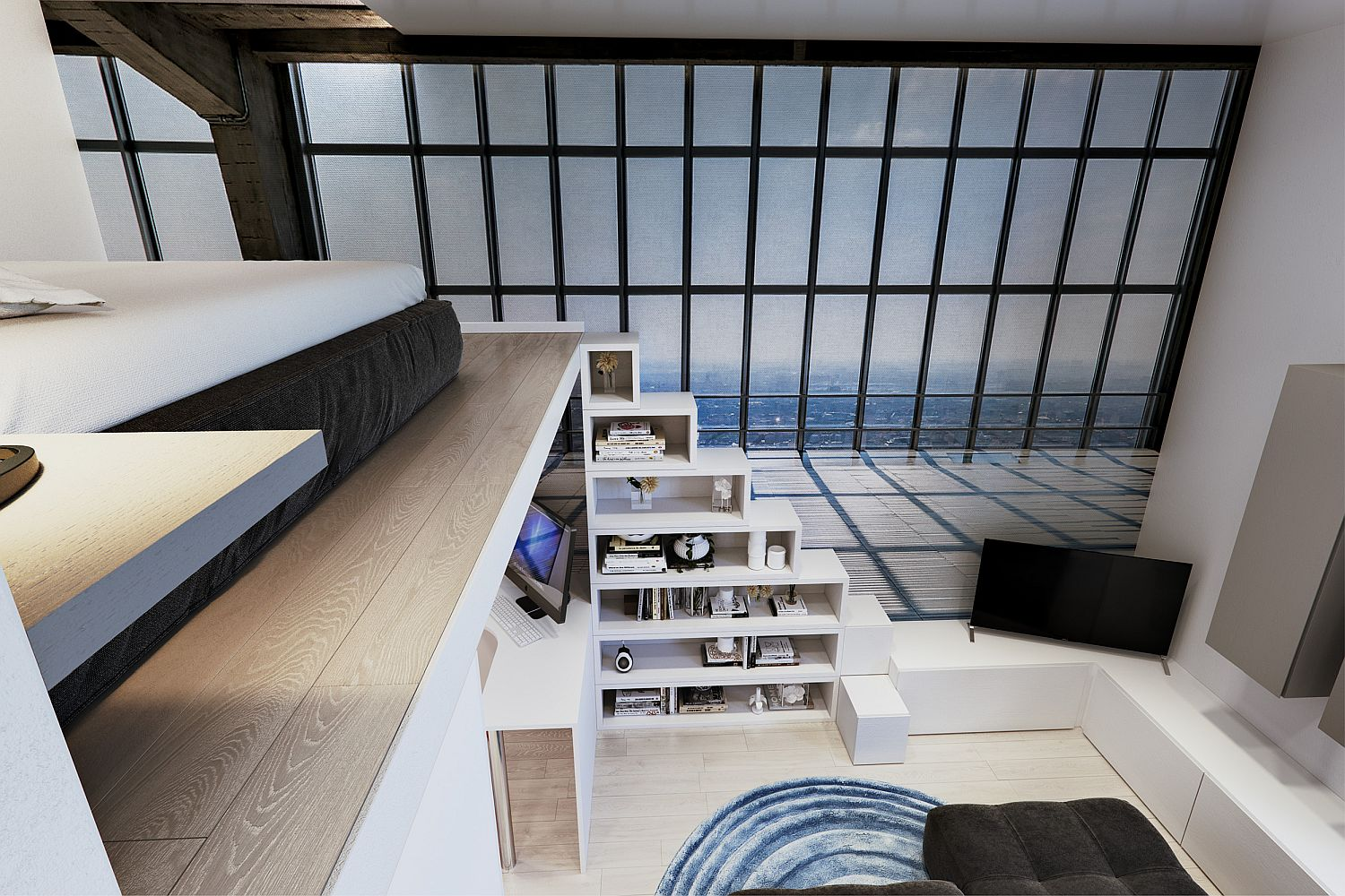 Staircase leading to the lof bedroom doubles as shelving unit