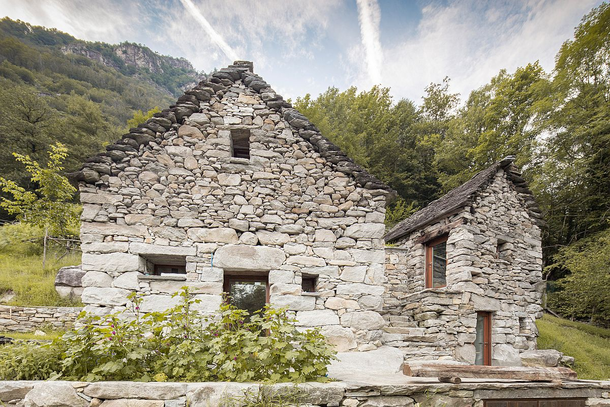 Stone exterior of the barns has been carefully preserved and improved