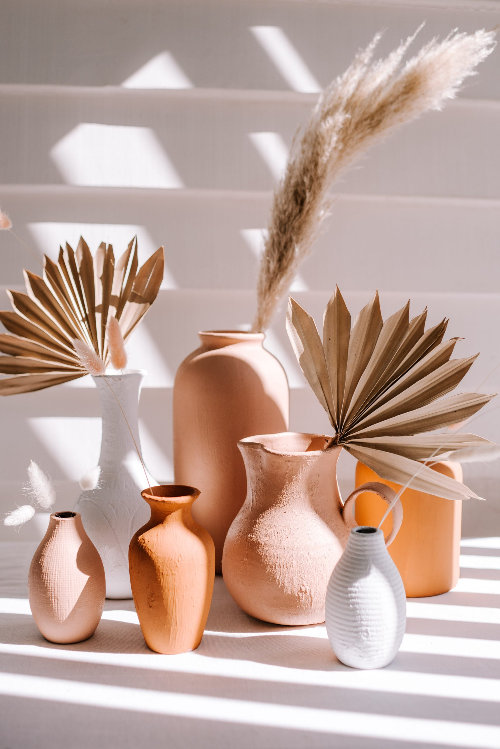 Terracotta gives ordinary vases a fresh update