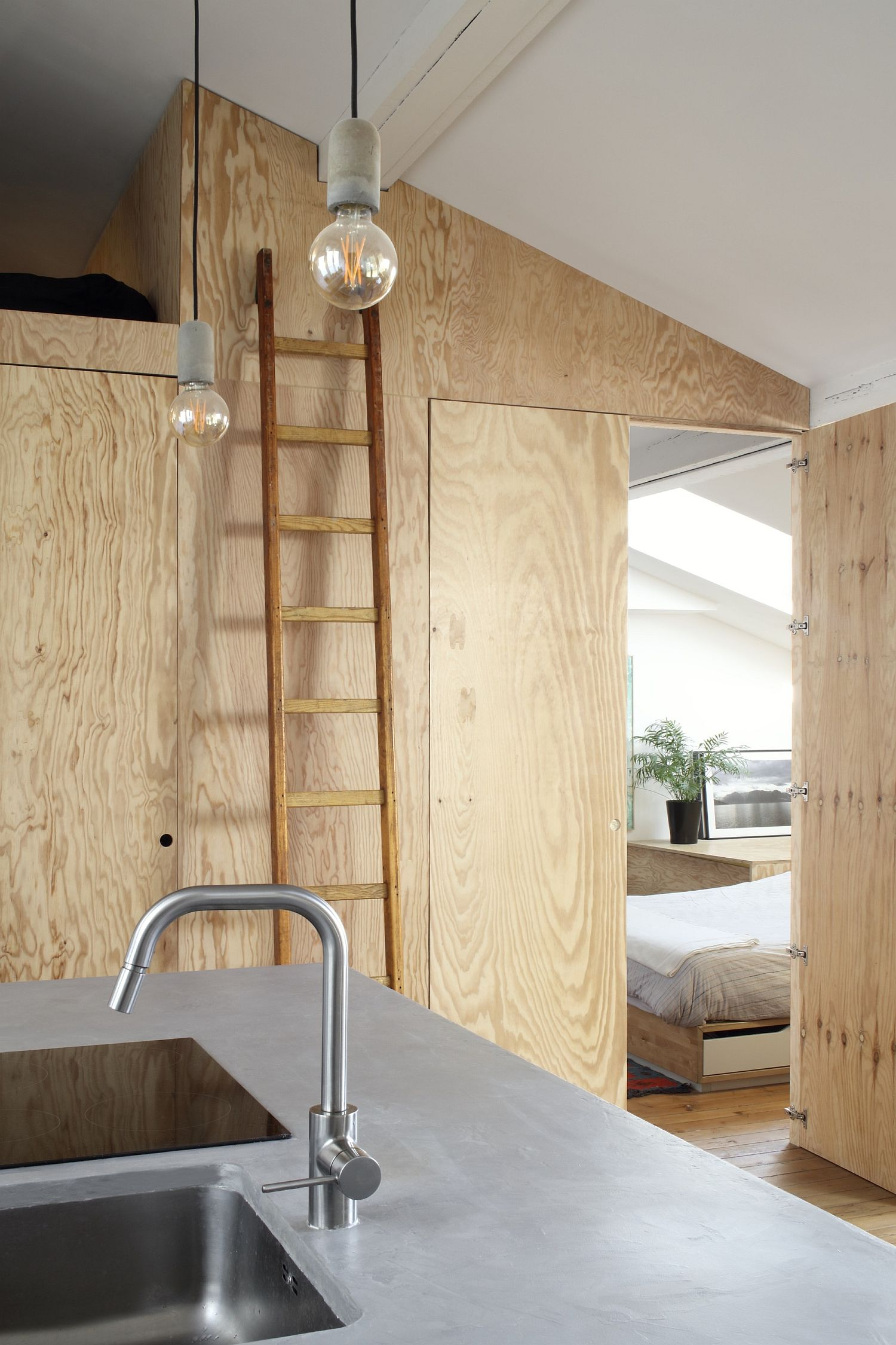 Utilizing the vertical space in the single bedroom apartment in style!