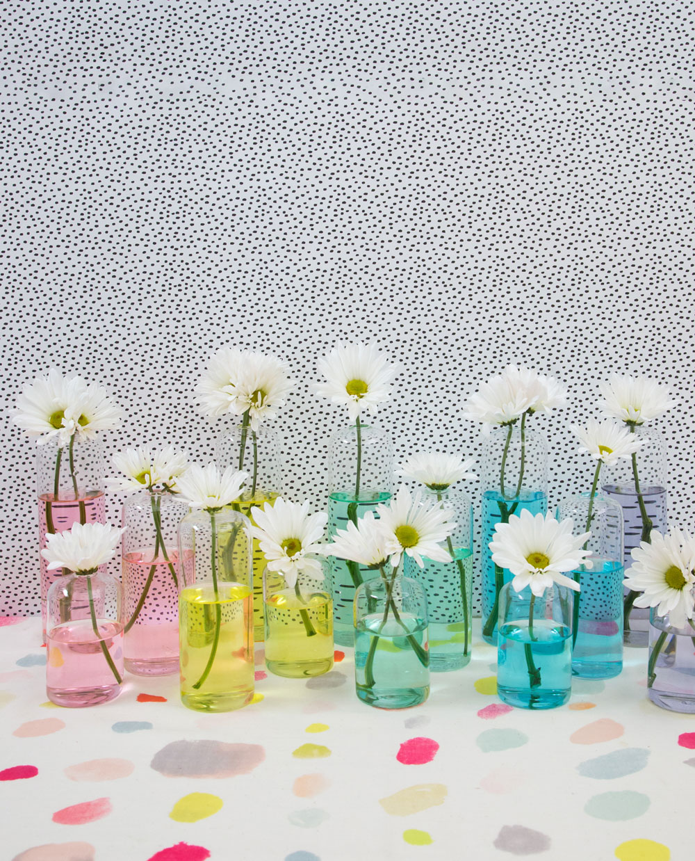 Vases filled with colorful water