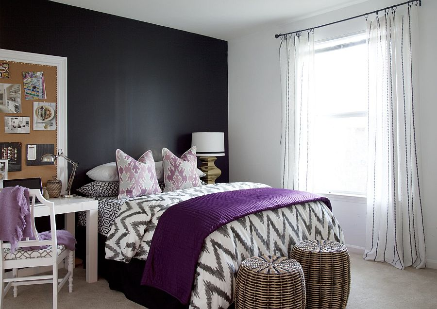 White-bedroom-with-dark-gray-accent-wall-and-purple-accents-58074