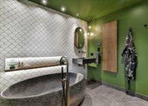 White-tiles-with-fish-scale-design-combined-with-bright-green-walls-in-the-innovative-bathroom-89457-217x155