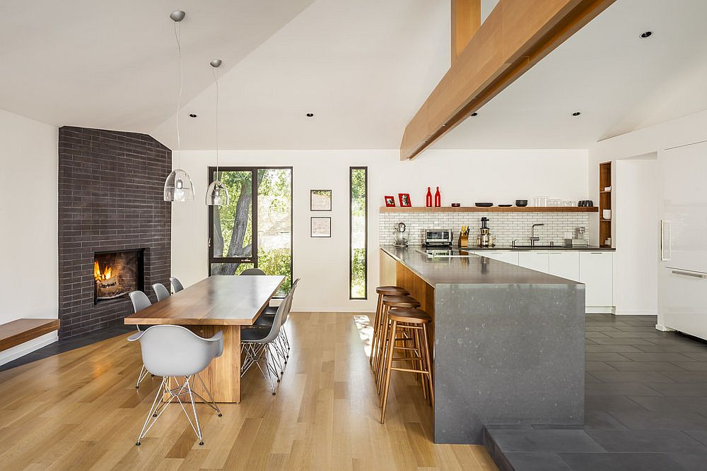 White, wood and gray kitchen and dining room of midcentury modern home in Los Gatos