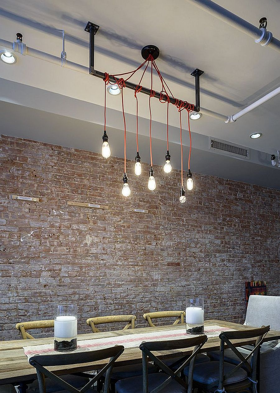 Whitewashed brick walls age elegantly and create multiple dynamics in the dining room