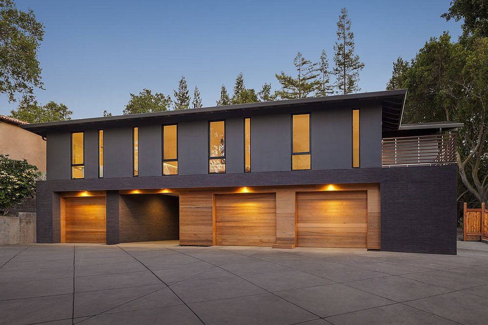 Wood and gray exterior of midcentury modern home in Los Gatos