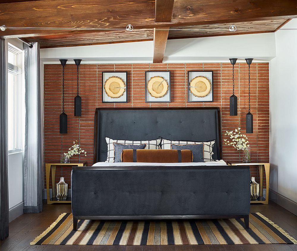 A blend of different patterns in the bedroom with a relaxing rustic chic style