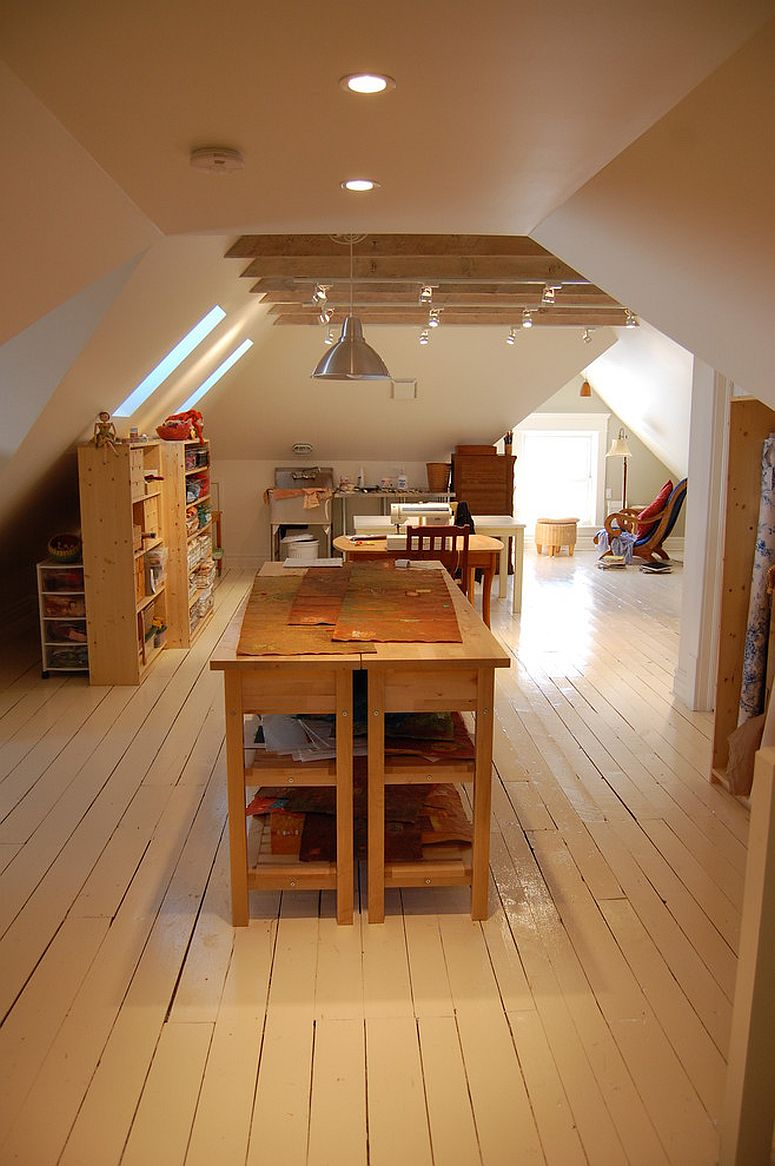 Artist's studio and kids' playroom rolled into one in the spacious, revamped attic