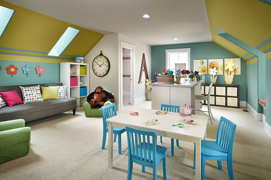 Attic playroom and craft room ideas allows you to keep an eye on the little ones as you get busy