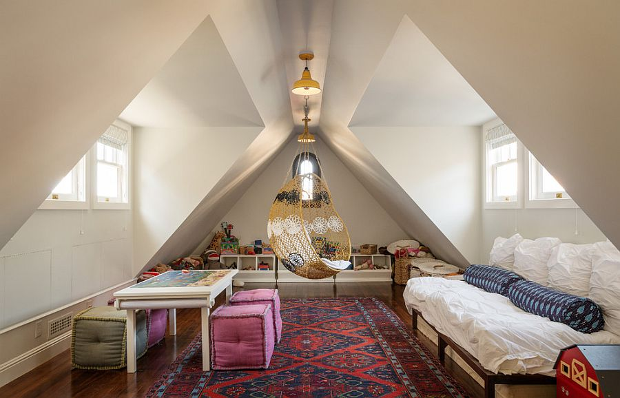 Beautiful shabby chic attic playroom that also doubles as a great guest bedroom