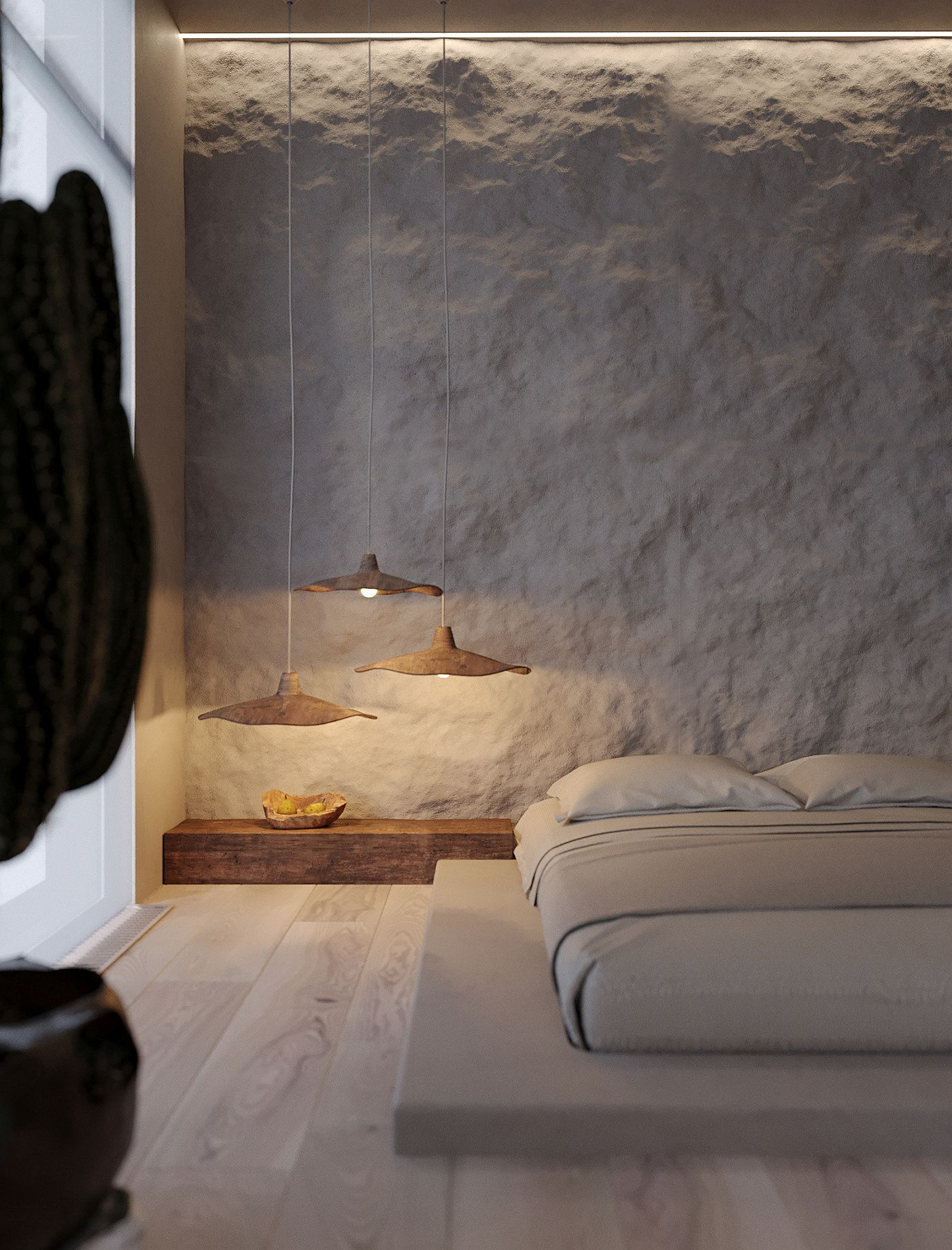 Beautifully textured clay walls of the bedroom accenuate the Wabi Sabi design philosophy of the bedroom