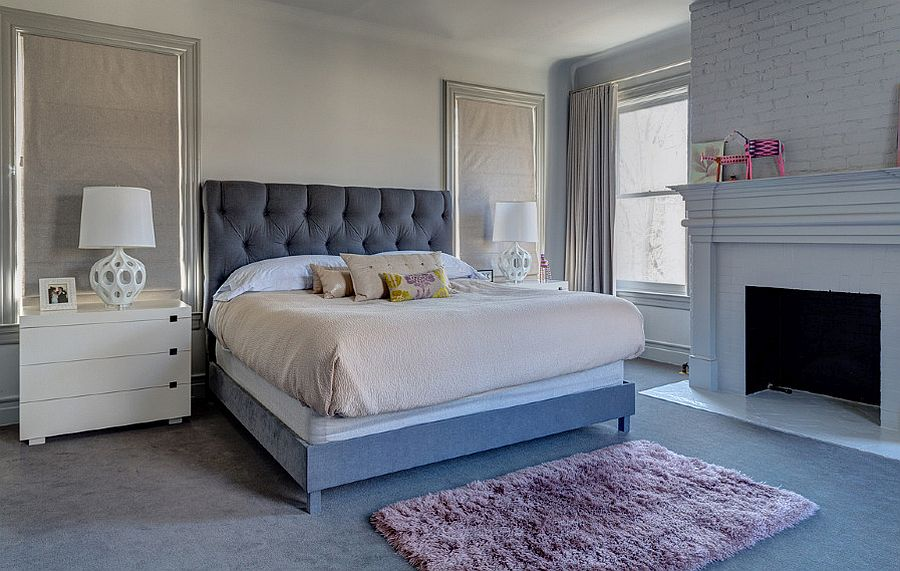 Bedroom in blue, gray and white feels both modern and traditional at the same time