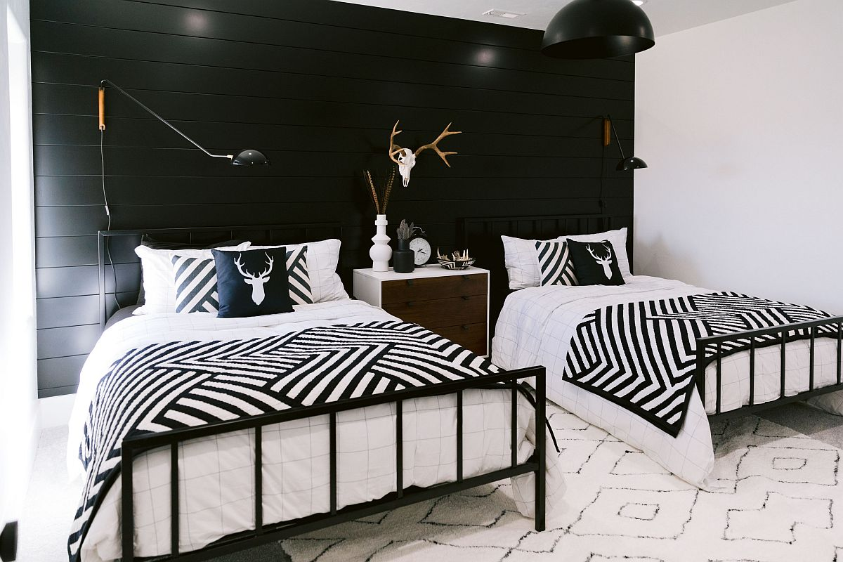 Black and white modern rustic bedroom with mountain style-inspired motifs feels cheerful and classy