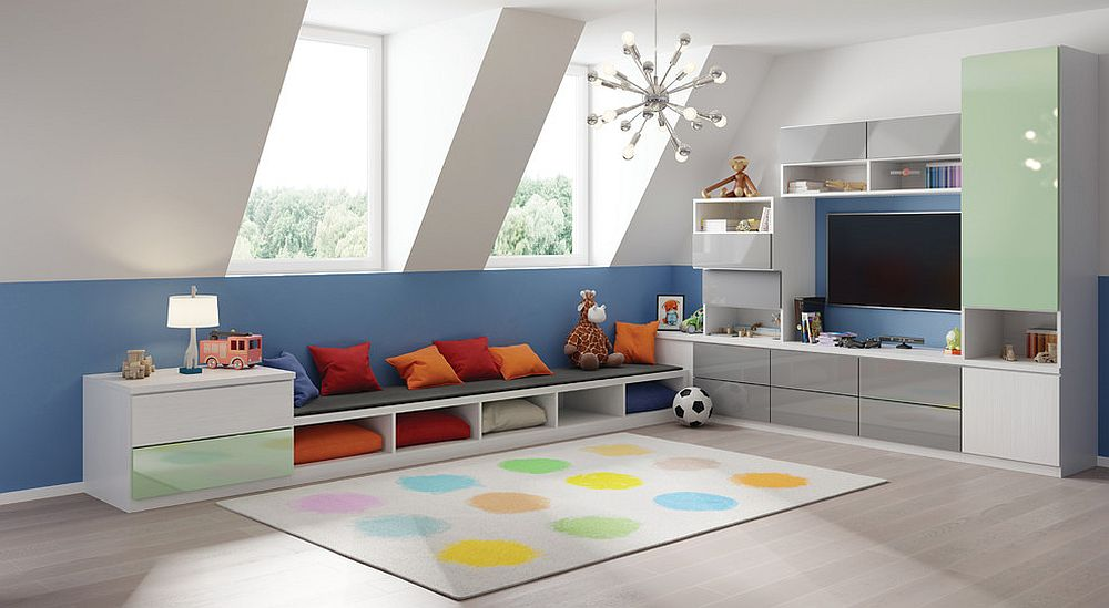 Blue and white attic playroom with built-in seating is cheerful and contemporary