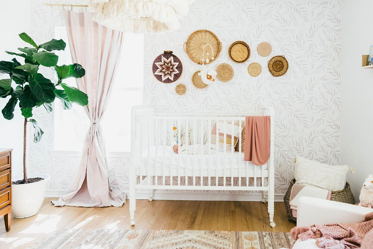 Bohemian charm combined with farmhouse touches in the fabulous little nursery