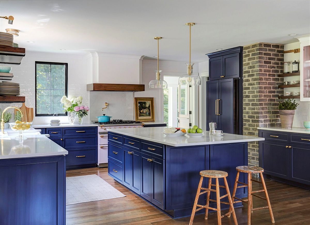 Bringing restrained farmhouse style to the modern kitchen with a splash of blue thrown into the mix