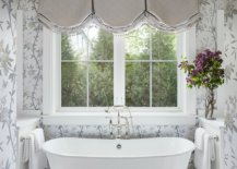 Captivating-spa-styled-bathroom-in-white-and-gray-with-walls-draped-in-flowery-pattern-95258-217x155