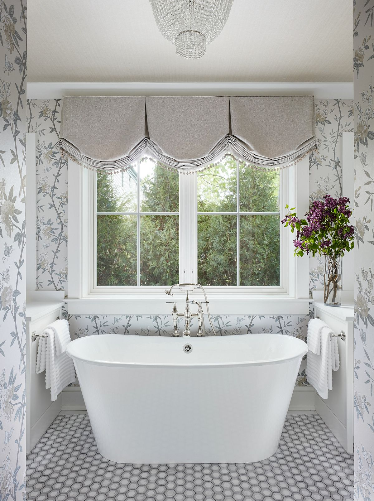 Captivating-spa-styled-bathroom-in-white-and-gray-with-walls-draped-in-flowery-pattern-95258