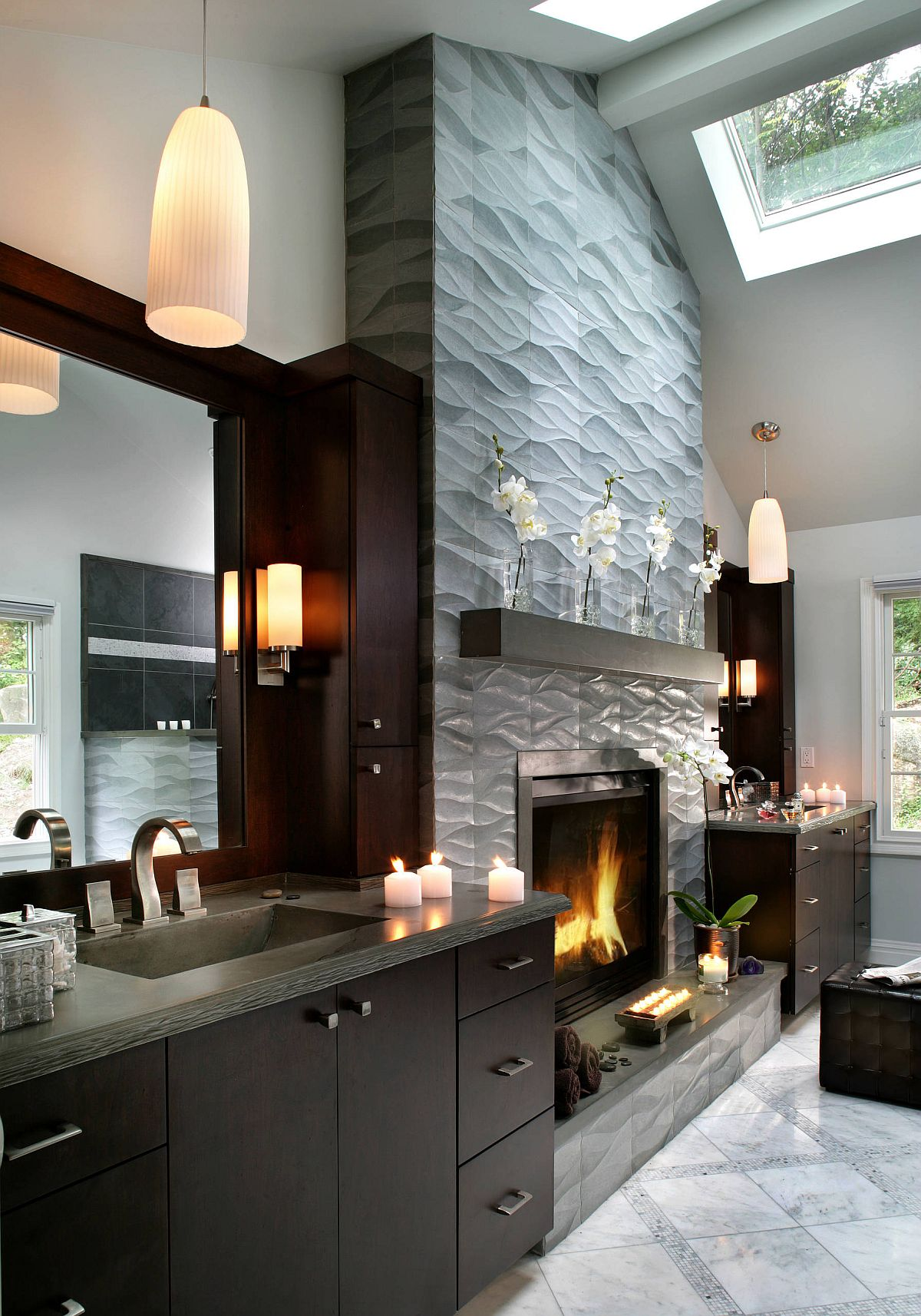 Complete your grand spa-inspired bathroom with a beautiful fireplace