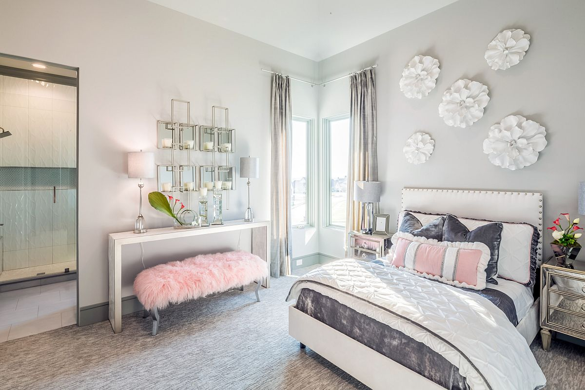 Contemporary girls' bedroom in white and gray with pastel pink accents all around